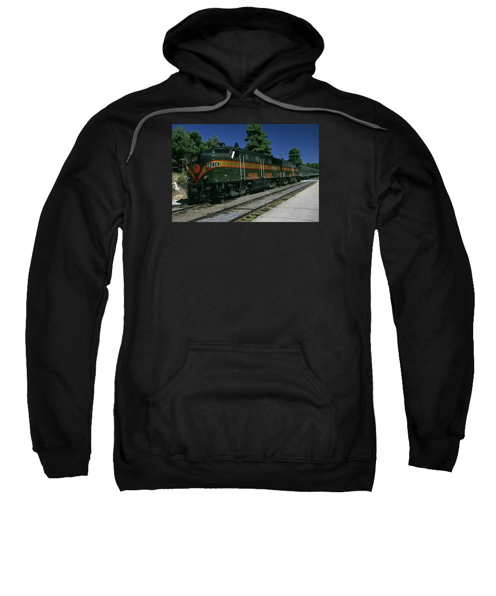 Old Train Running On Track Sweatshirt featuring the photograph Grand Canyon Railway Train by Sally Weigand