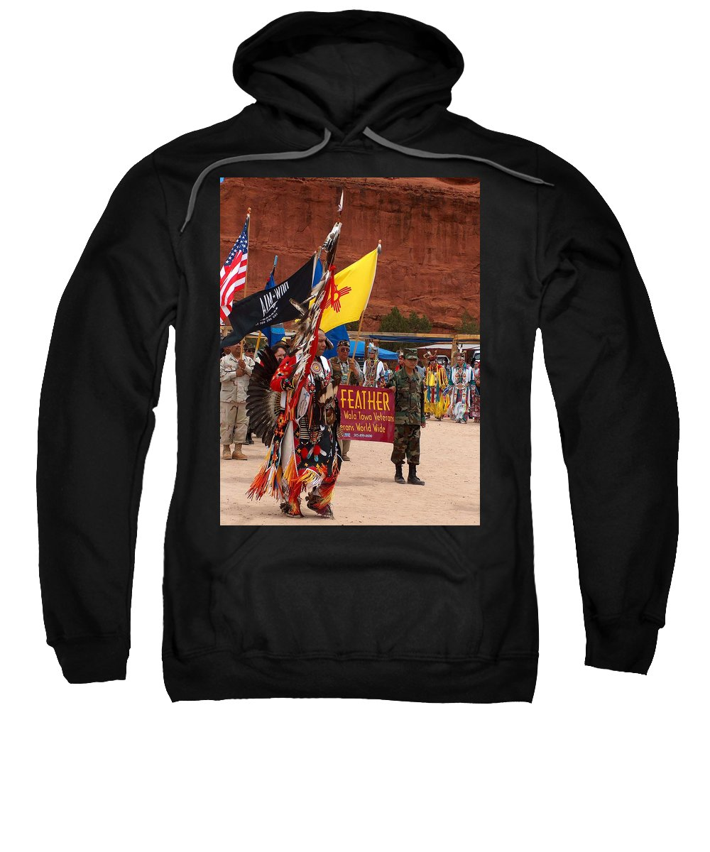 Pow-wow Sweatshirt featuring the photograph Grand Entry At Star Feather Pow-wow by Tim McCarthy