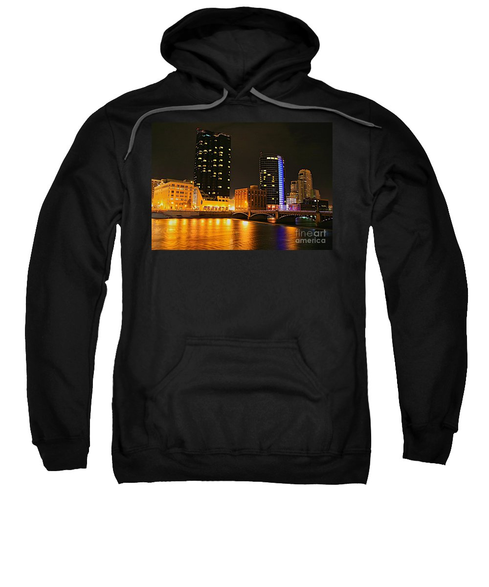 Grand Rapids Mi City Scapes Sweatshirt featuring the photograph Grand Rapids Mi Under The Lights-2 by Robert Pearson