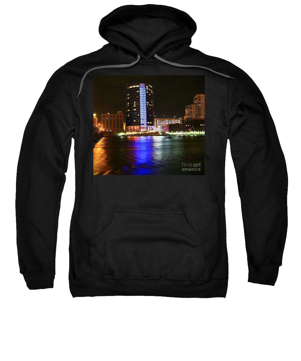 Grand Rapids Mi City Scapes Sweatshirt featuring the photograph Grand Rapids Mi Under The Lights-6 by Robert Pearson