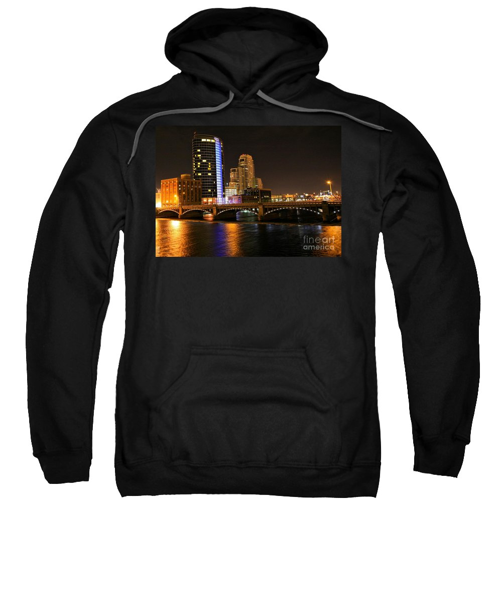 Tags:  West Michigan Photographs Sweatshirt featuring the photograph Grand Rapids Mi Under The Lights by Robert Pearson