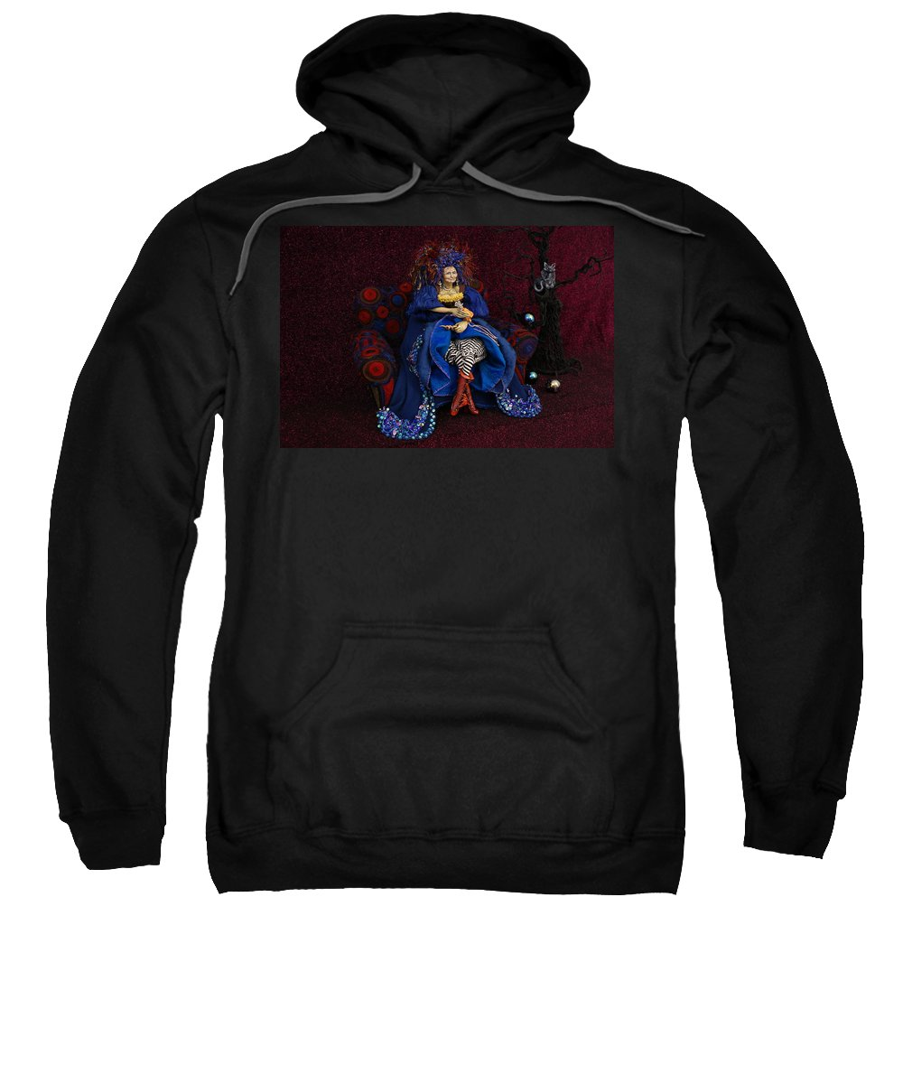 Grandmother Witch Doll Sweatshirt featuring the mixed media Grandmother Witch by Judy Henninger
