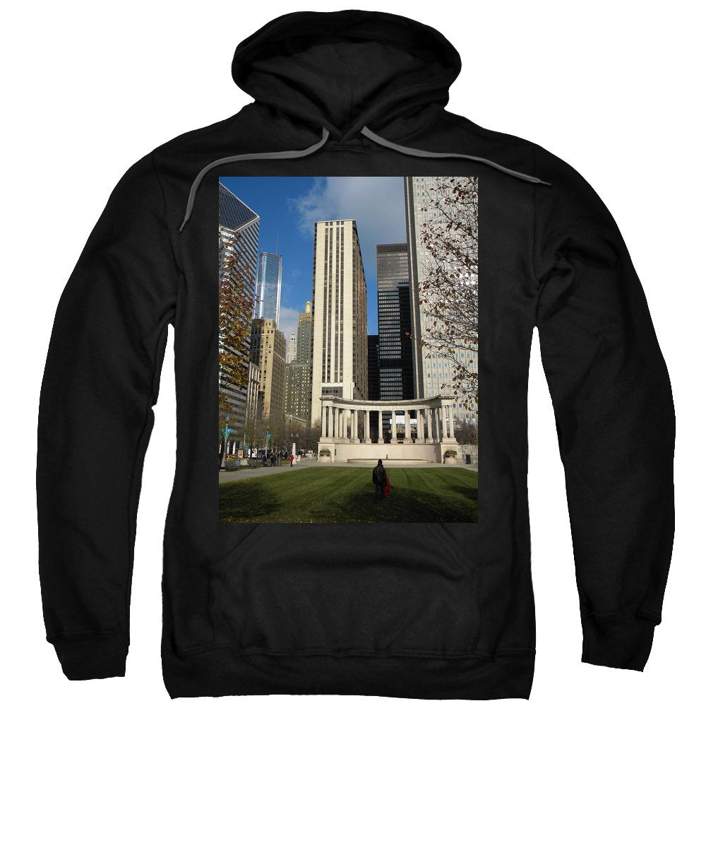 City Scene Sweatshirt featuring the photograph Grant Park Chicago by Jan Gilmore