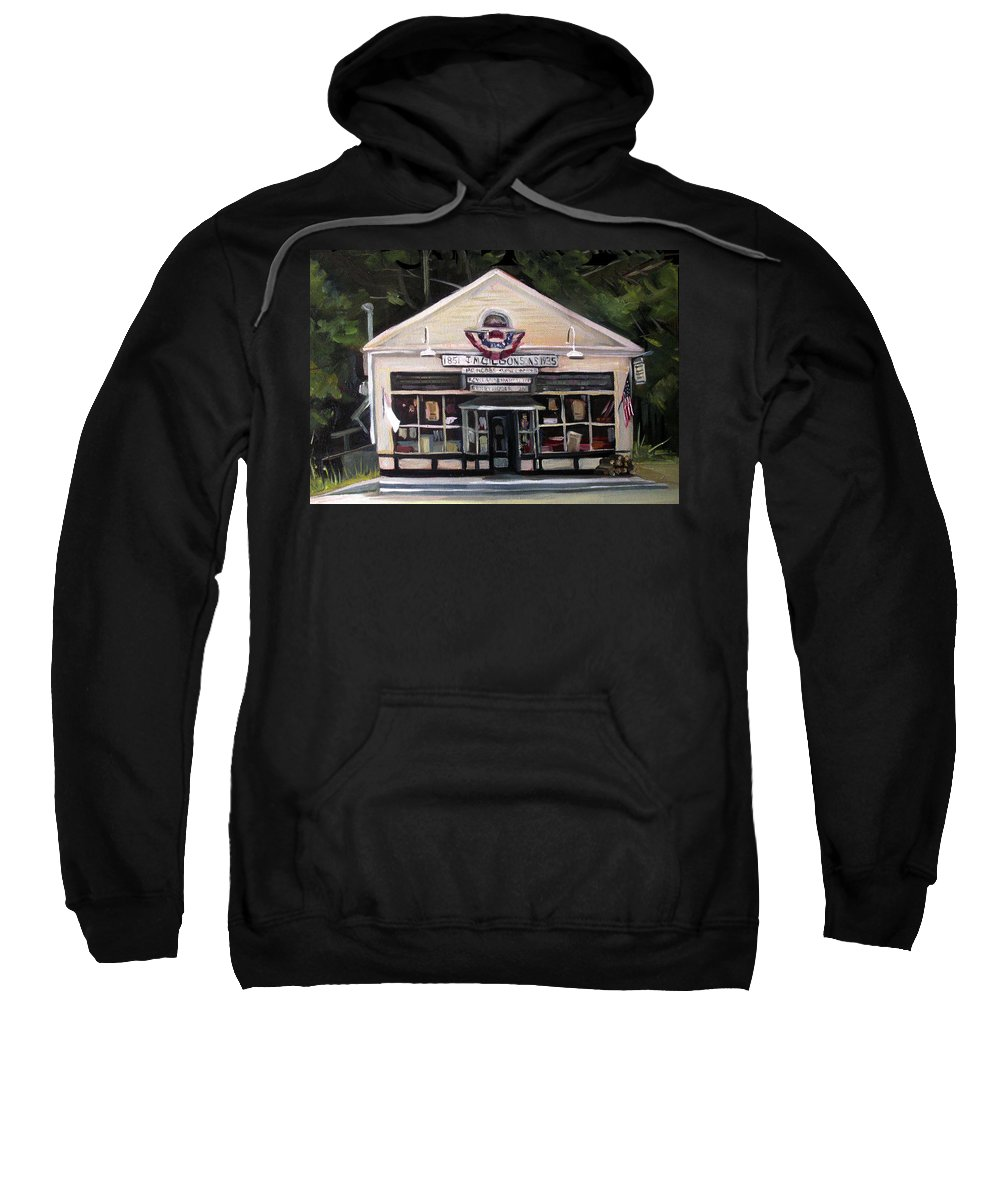 Oil Painting Sweatshirt featuring the painting Granville Country Store Front View by Nancy Griswold