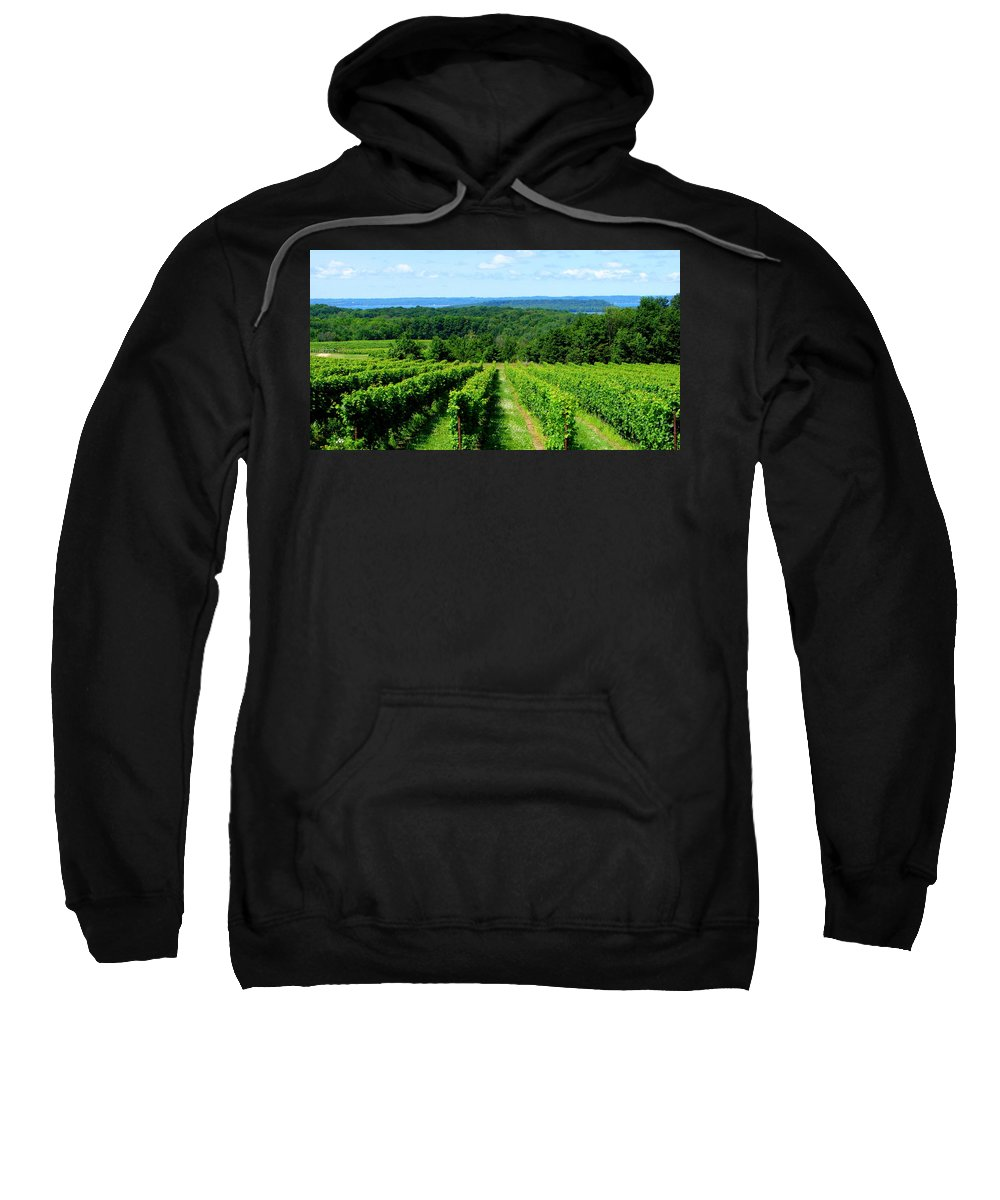 Scenic Sweatshirt featuring the photograph Grapevines On Old Mission Peninsula - Traverse City Michigan by Michelle Calkins