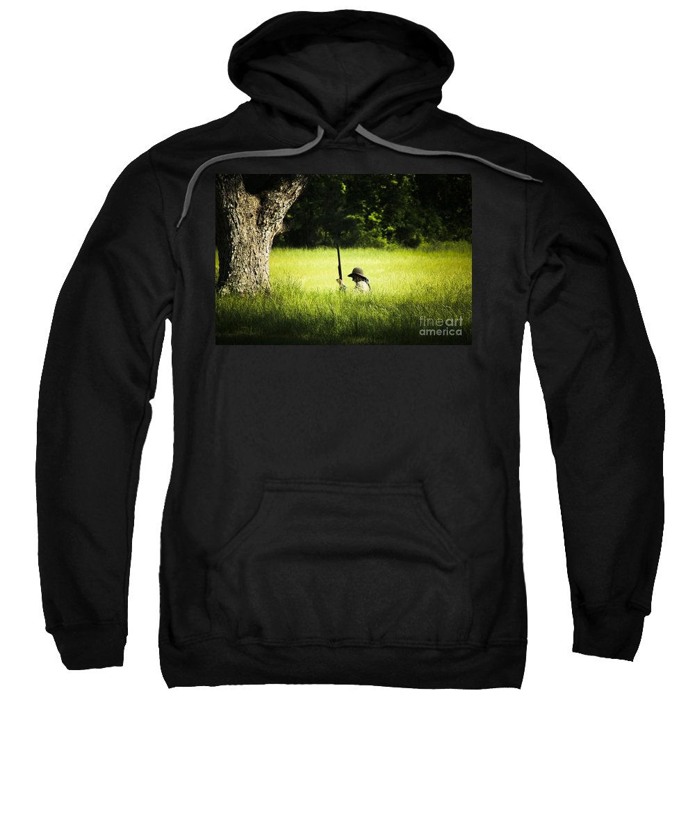 Civial Warr Re-enactment< Jefferson Sweatshirt featuring the photograph Grass Coverage by Kim Henderson
