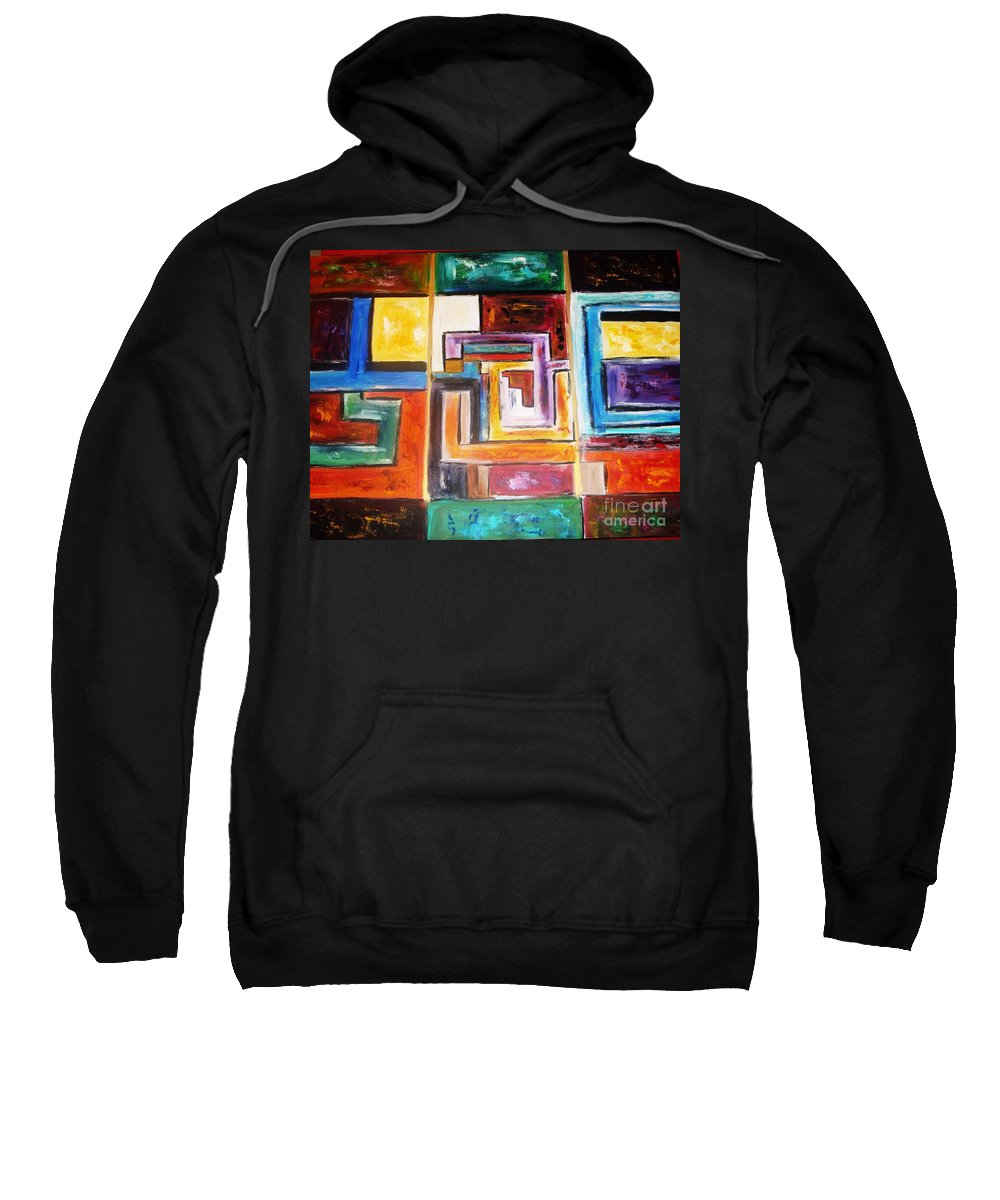 Geometric Shapes Abstract Sweatshirt featuring the painting Gratitude by Yael VanGruber