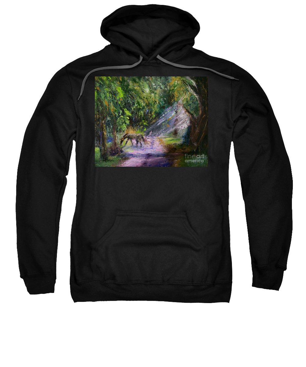 Landscape Sweatshirt featuring the painting Grazin' In The Grass by Stephen King