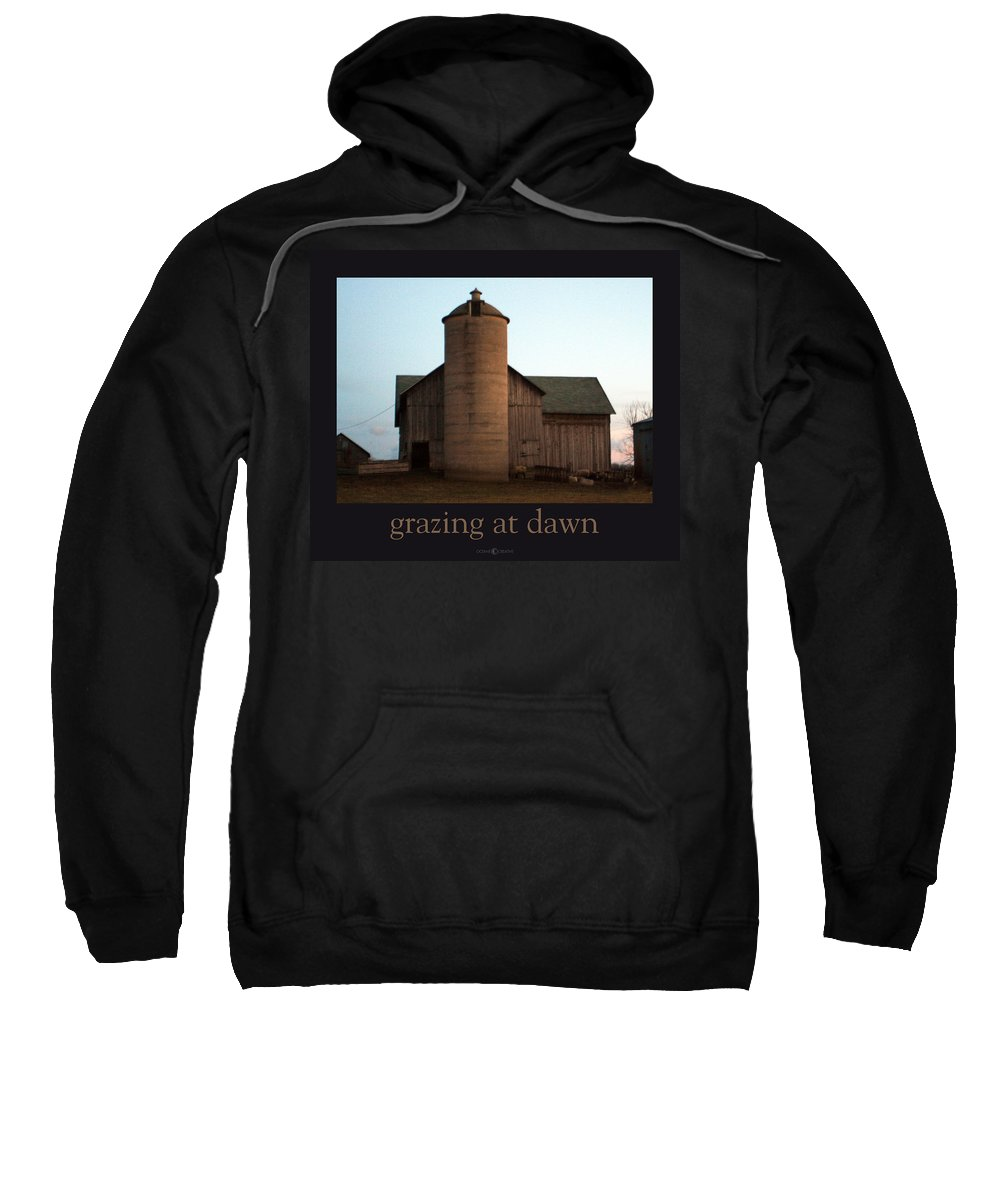 Barn Sweatshirt featuring the photograph Grazing At Dawn by Tim Nyberg