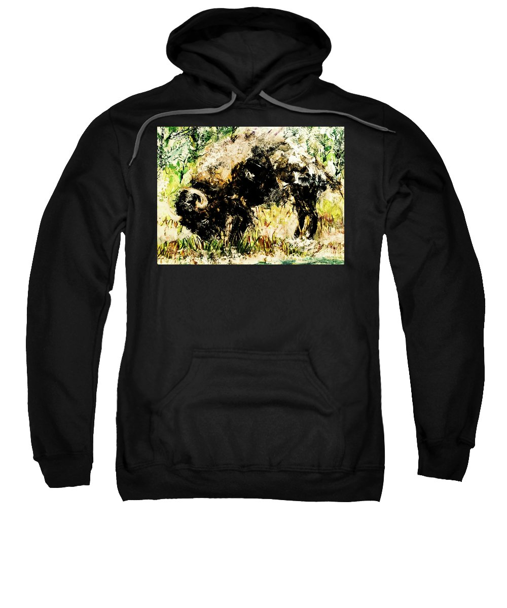 Bison Sweatshirt featuring the painting Grazing Bison by Esther Brown