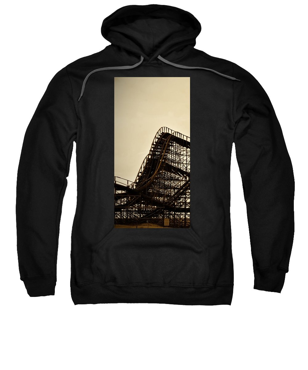 Great White Sweatshirt featuring the photograph Great White Roller Coaster - Adventure Pier Wildwood Nj In Sepia Triptych 1 by Bill Cannon