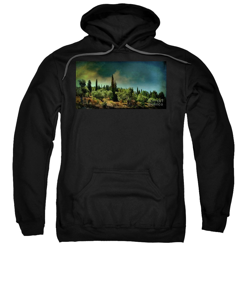 Greece Sweatshirt featuring the photograph Grecian Landscape by Remi D Photography