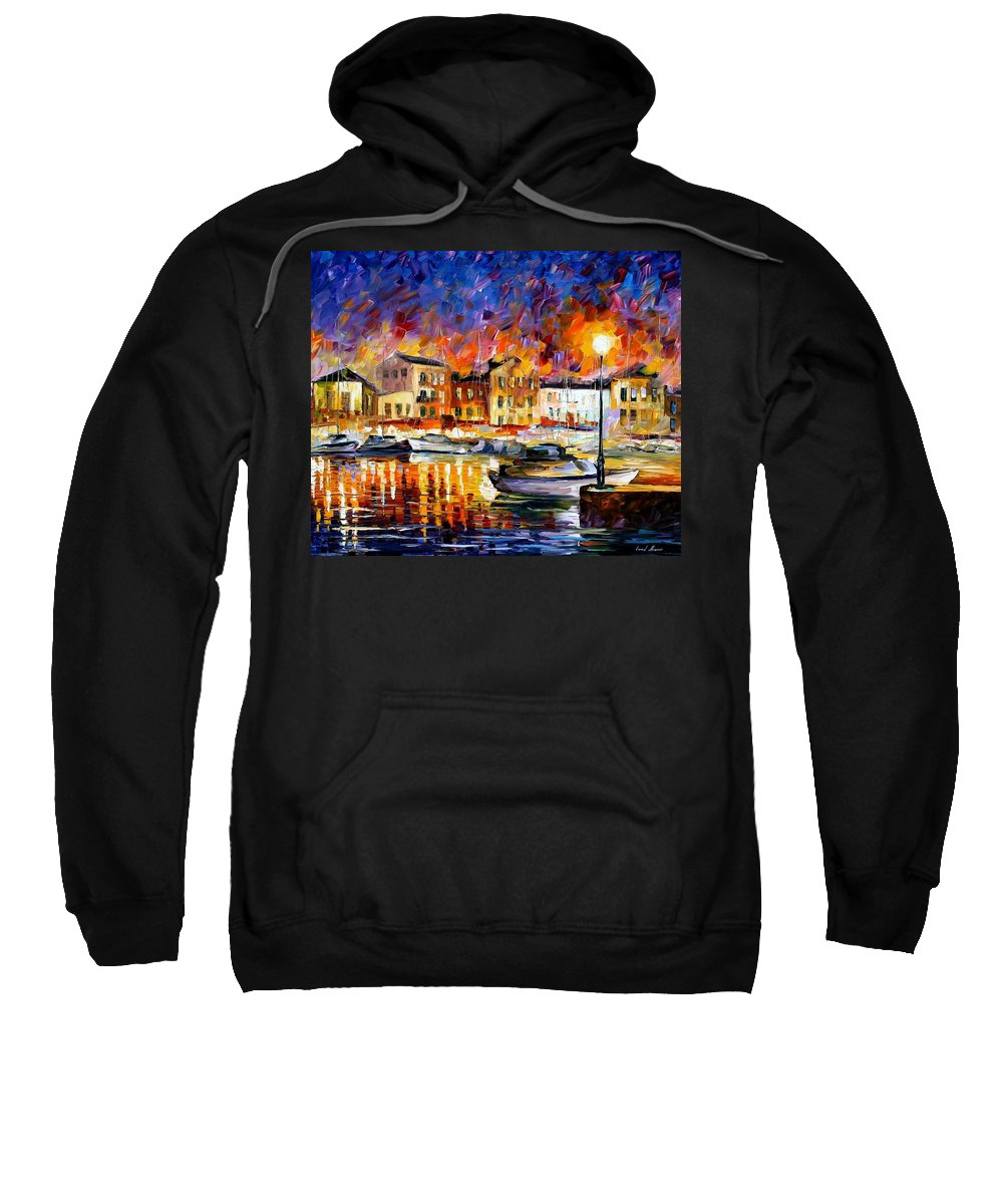 Afremov Sweatshirt featuring the painting Greece by Leonid Afremov