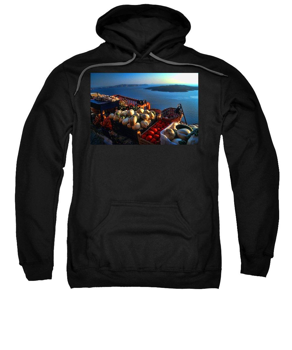 Europe Sweatshirt featuring the photograph Greek Food At Santorini by David Smith