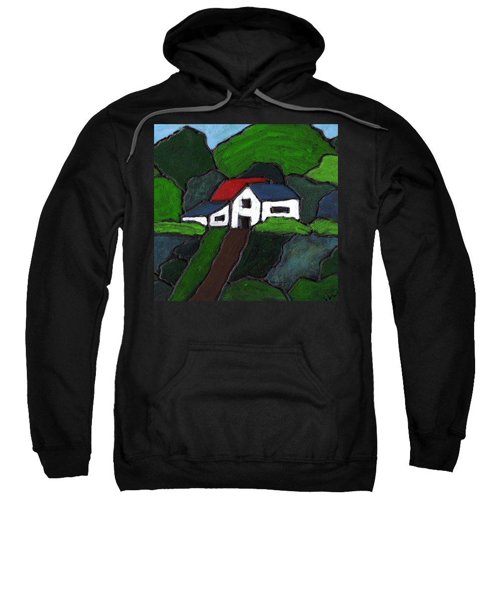 Rural Sweatshirt featuring the painting Green Acres by Wayne Potrafka
