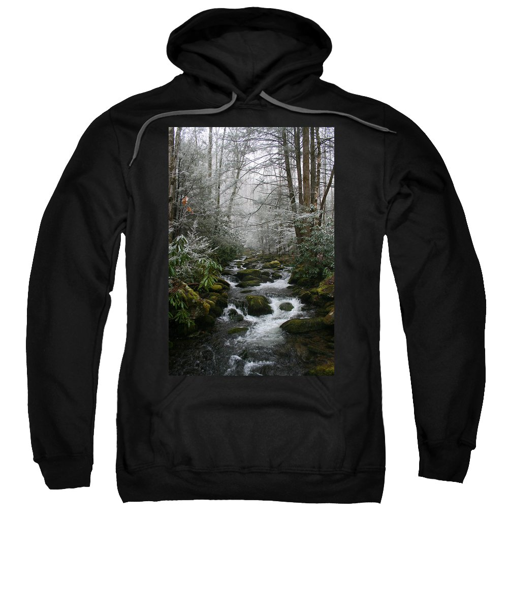 Green Snow Tree Trees Winter Stream River Creek Water Stone Rock Flow Boulder Forest Woods Cold Sweatshirt featuring the photograph Green And White by Andrei Shliakhau