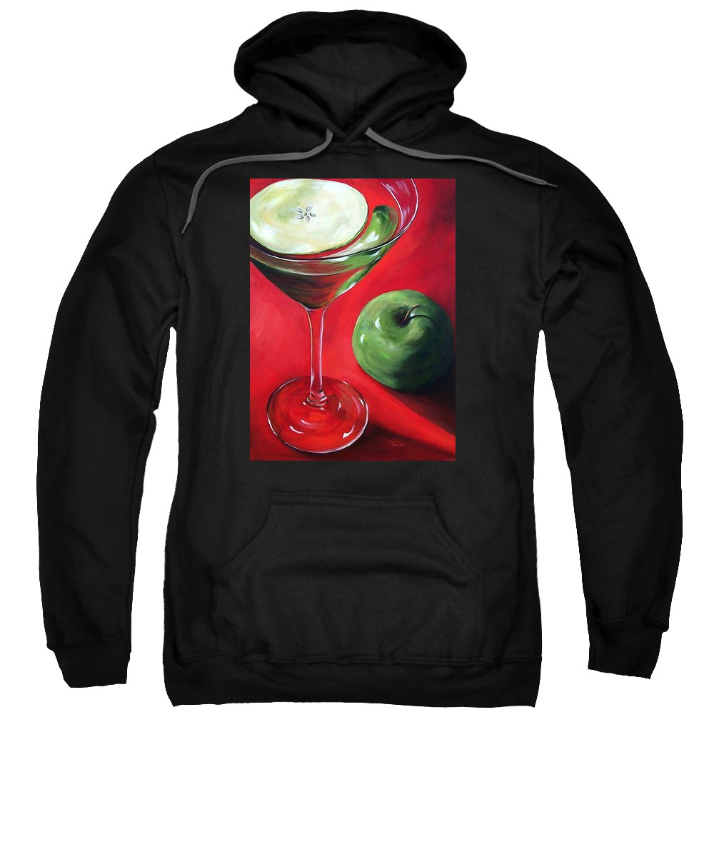 Martini Sweatshirt featuring the painting Green Apple Martini by Torrie Smiley