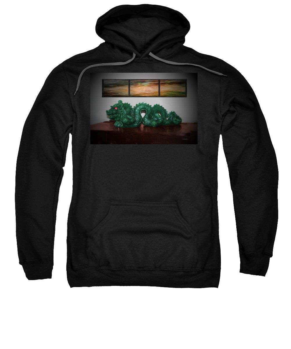 Dragon Sweatshirt featuring the photograph Green Dragon by Ericamaxine Price