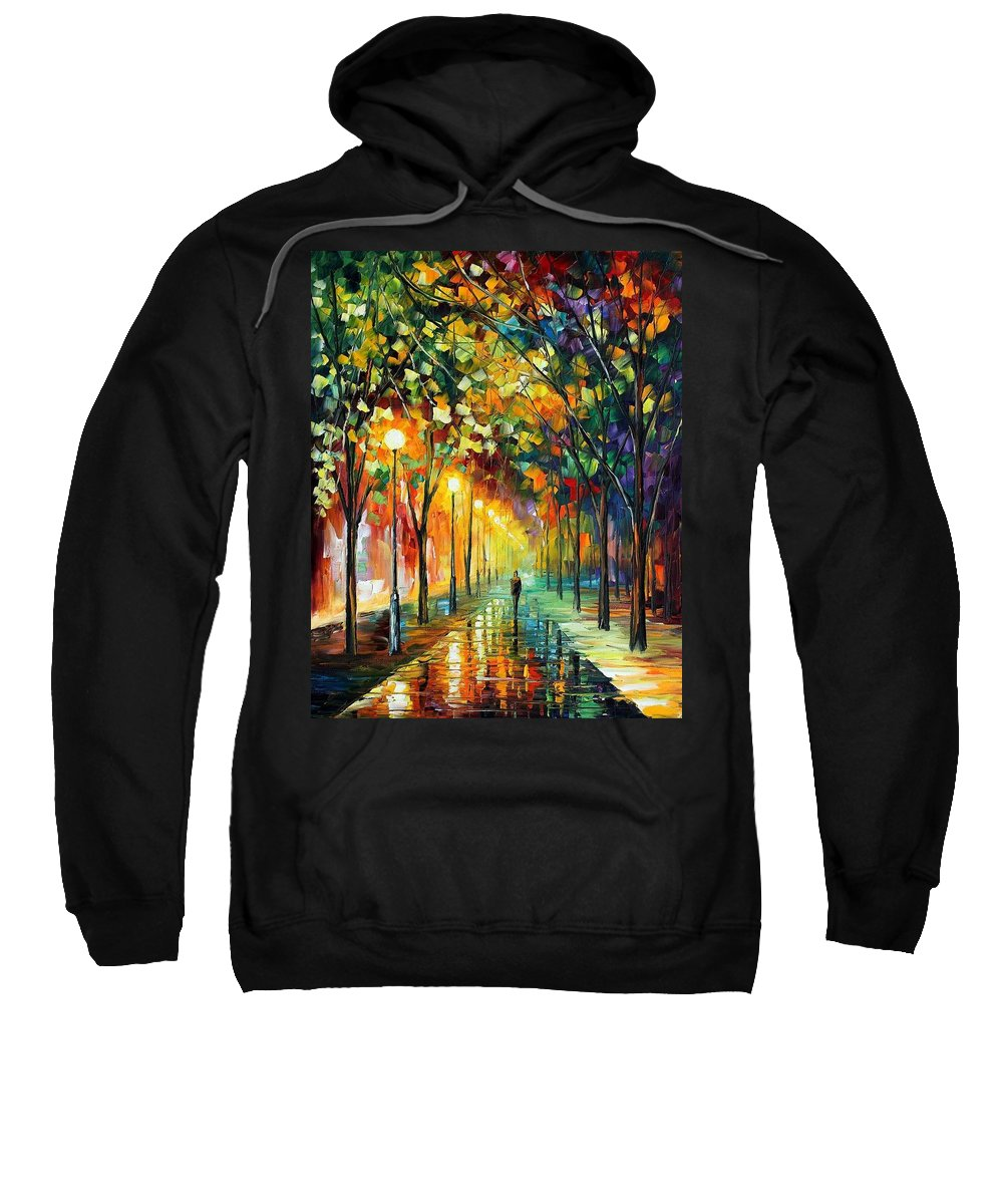 Afremov Sweatshirt featuring the painting Green Dreams by Leonid Afremov