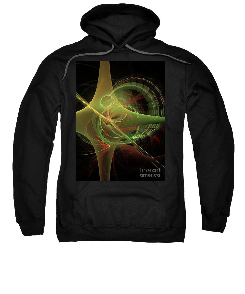 Sweatshirt featuring the digital art Green Energy Tunnel by Deborah Benoit