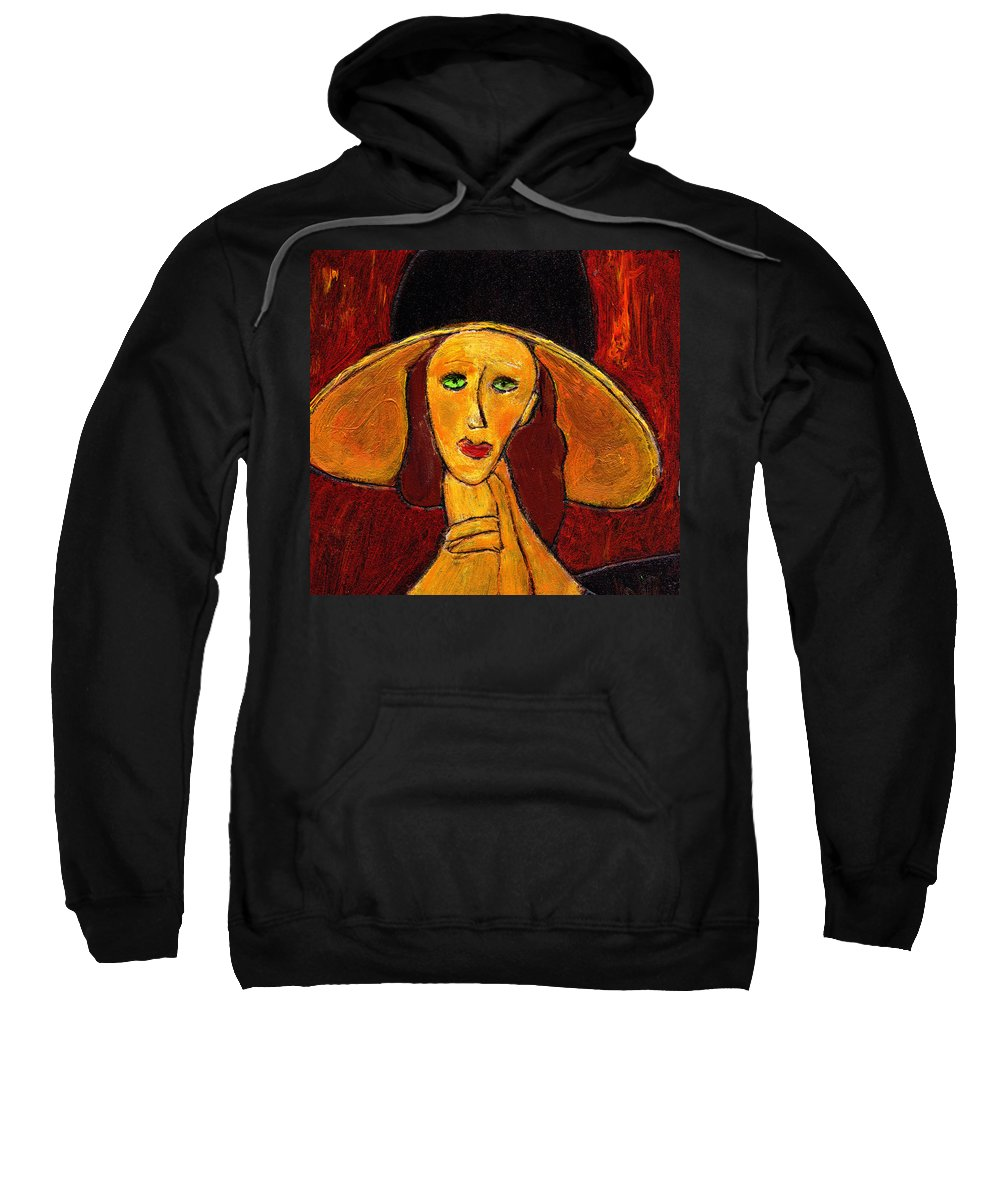 Hat Sweatshirt featuring the painting Green Eyes by Wayne Potrafka
