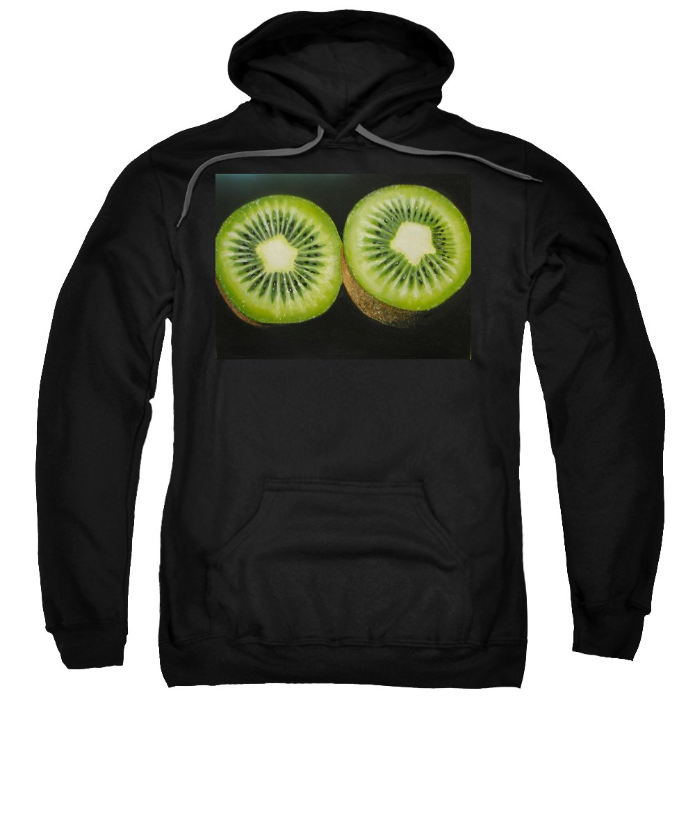 Kiwi Sweatshirt featuring the painting Green Kiwi Oil Painting by Natalja Picugina