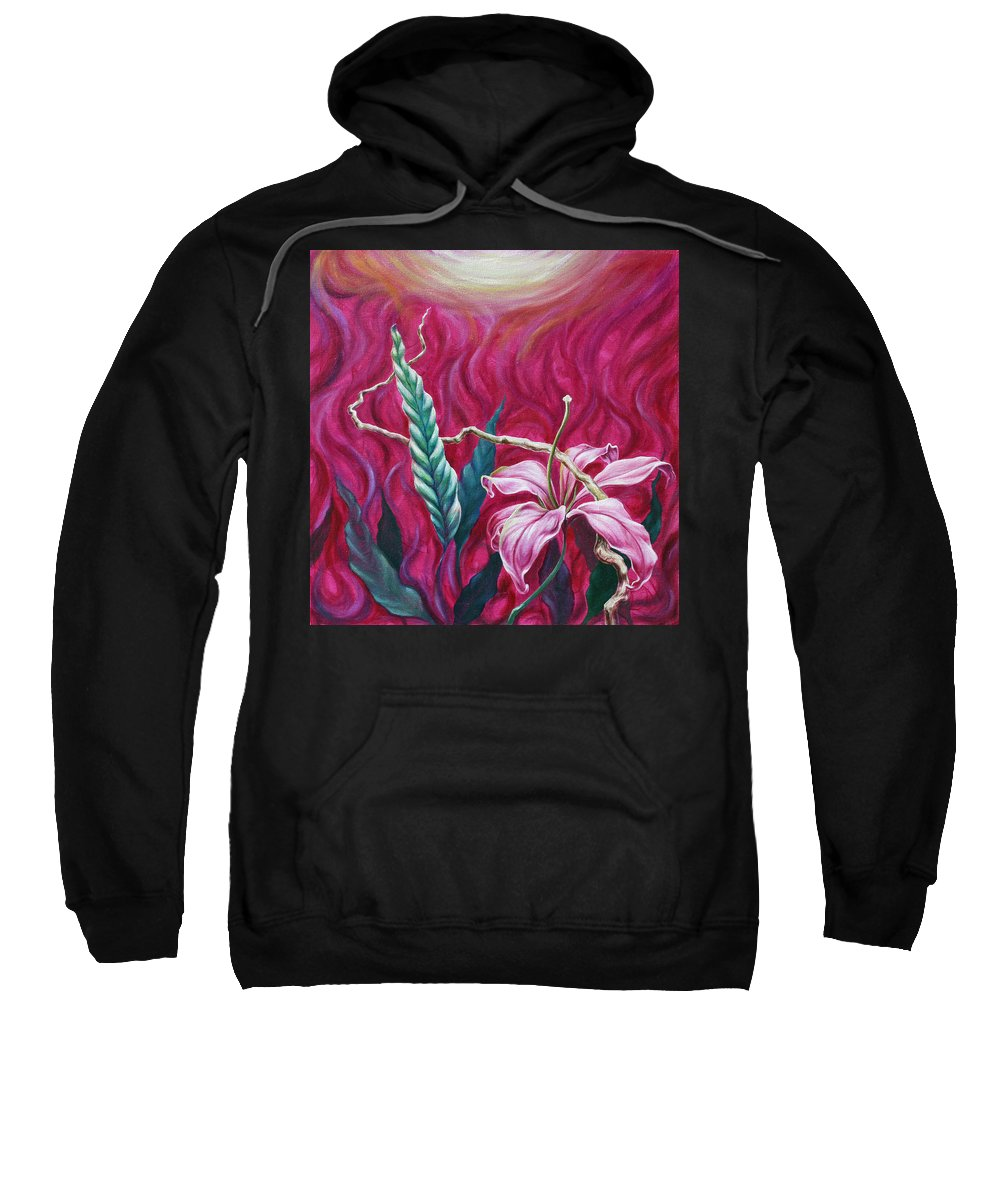 Sweatshirt featuring the painting Green Leaf by Jennifer McDuffie