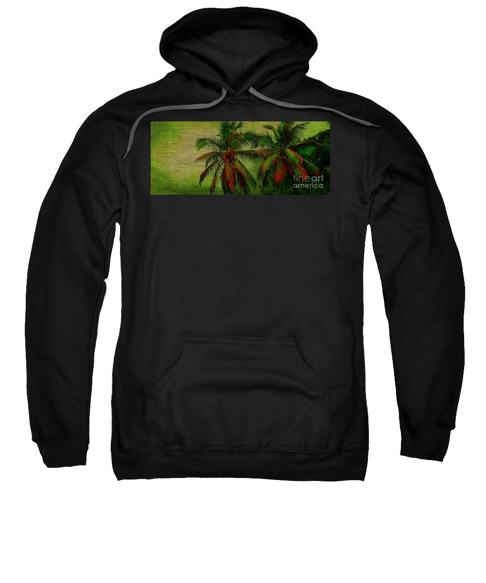 Palm Sweatshirt featuring the photograph Green Palms by Perry Webster