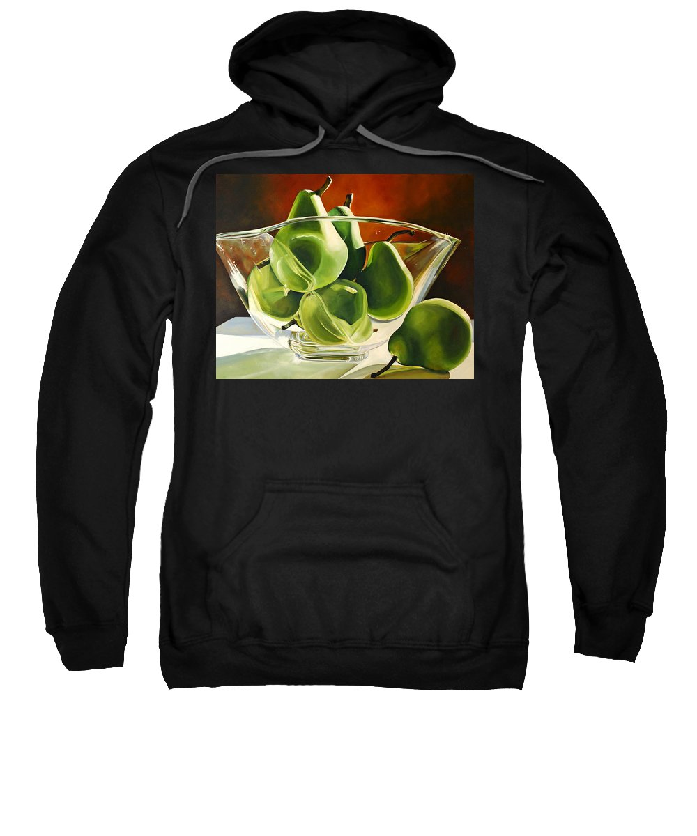 Pear Sweatshirt featuring the painting Green Pears In Glass Bowl by Toni Grote