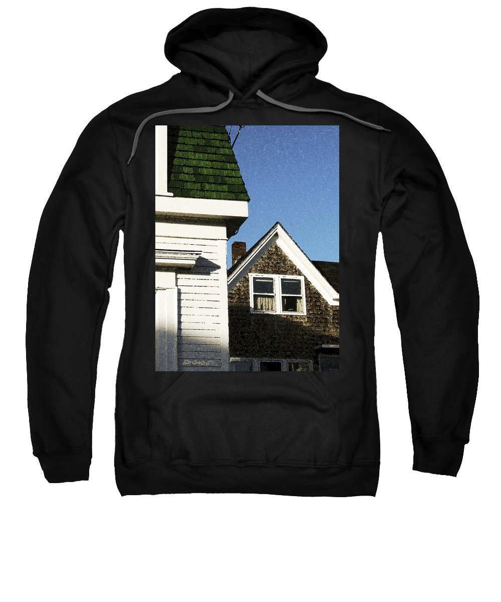Maine Sweatshirt featuring the photograph Green Roof Stonington Deer Isle Maine Coast by Ed A Gage