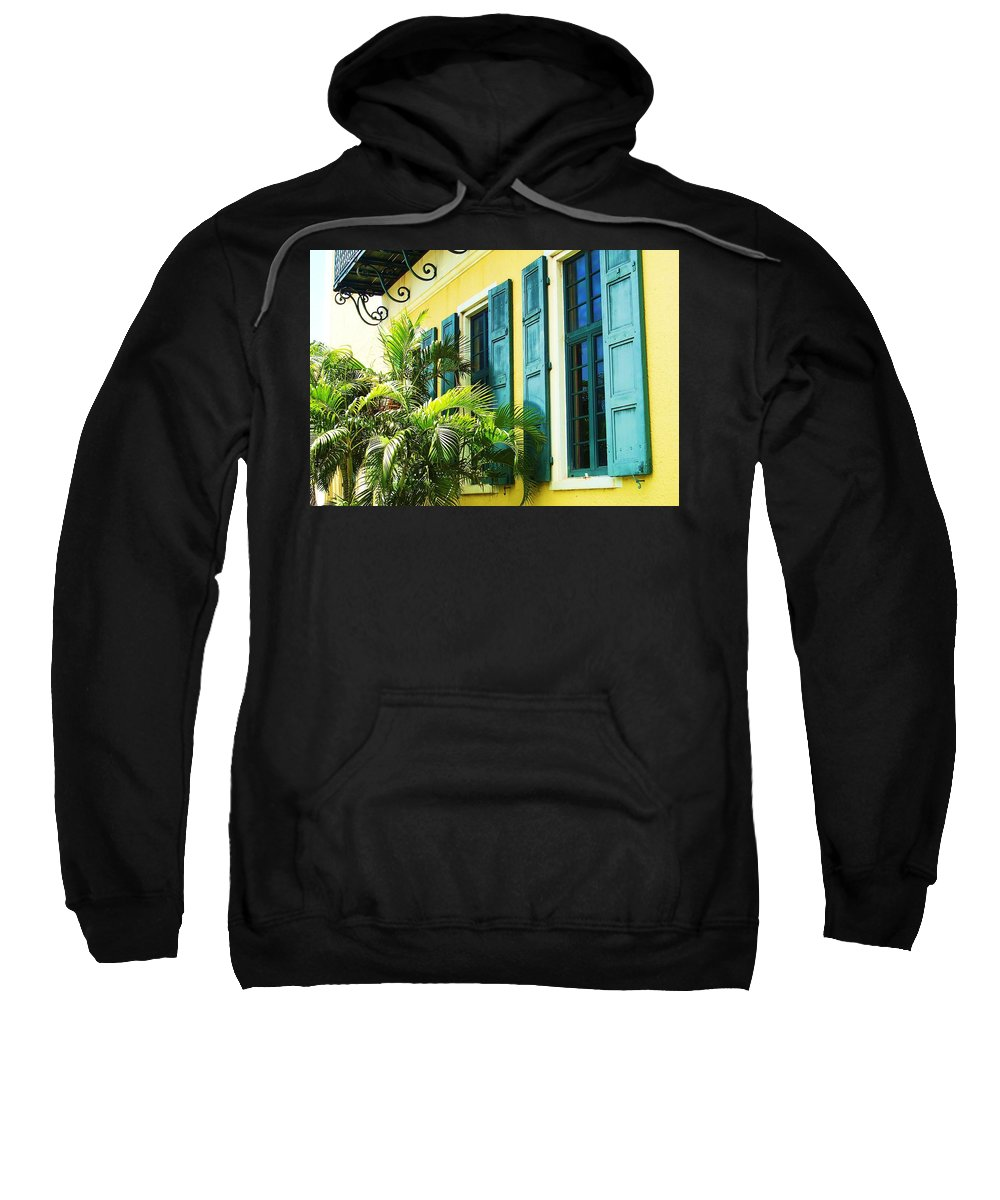 Architecture Sweatshirt featuring the photograph Green Shutters by Debbi Granruth