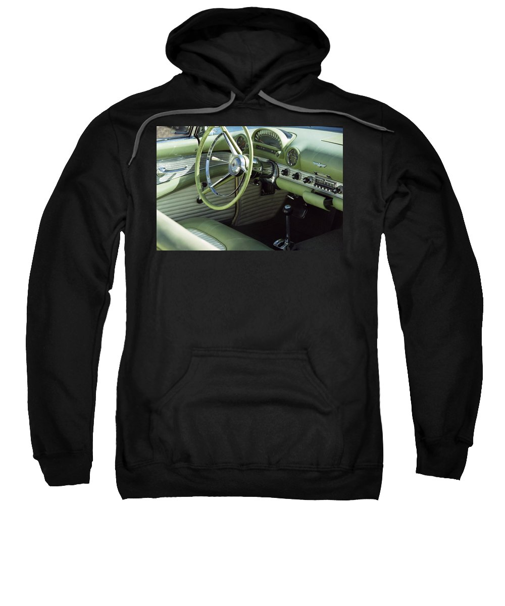 Photography Sweatshirt featuring the photograph Green Thunderbird Wheel And Front Seat by Heather Kirk