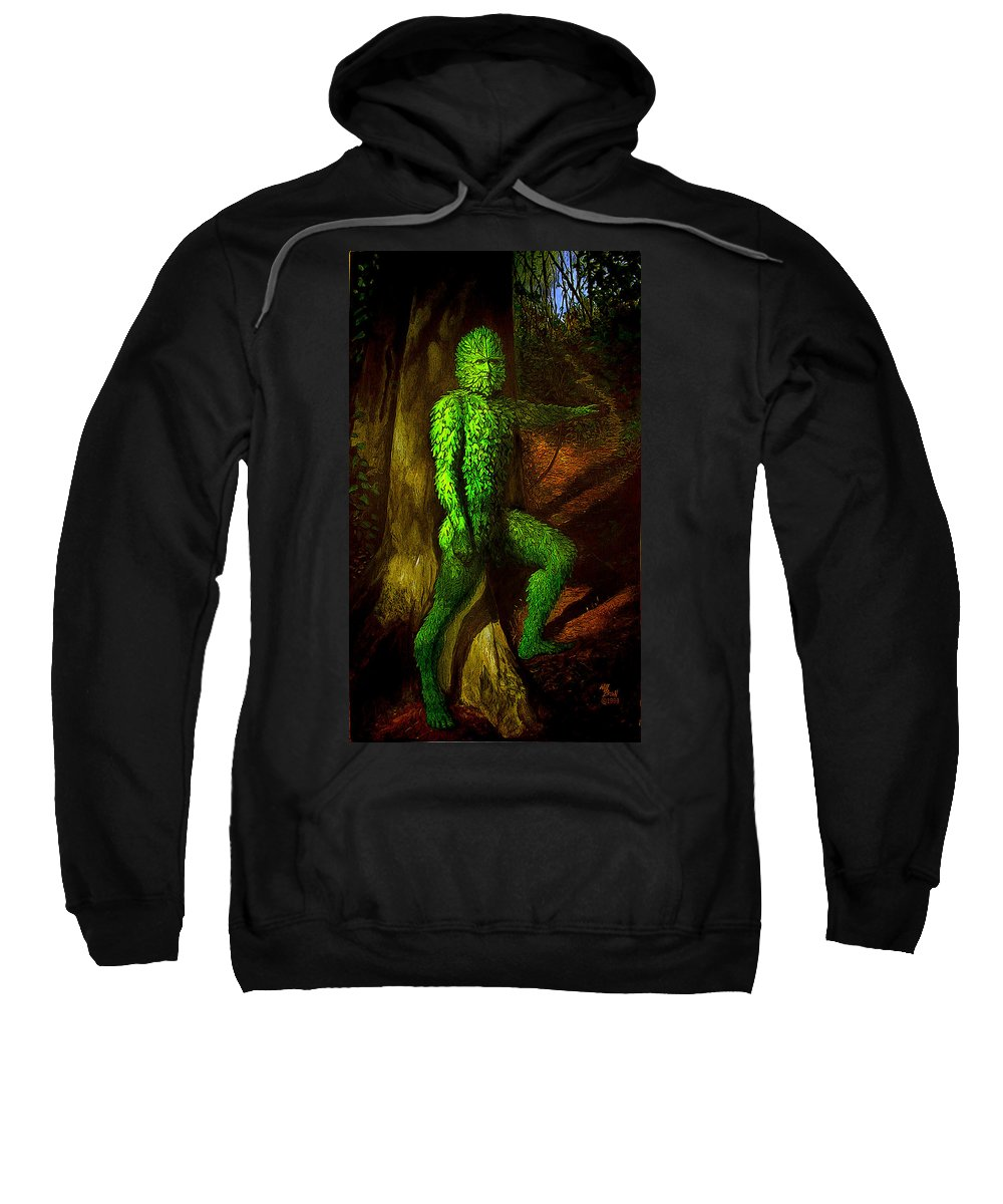 Myth Sweatshirt featuring the mixed media Greenman by Will Brown
