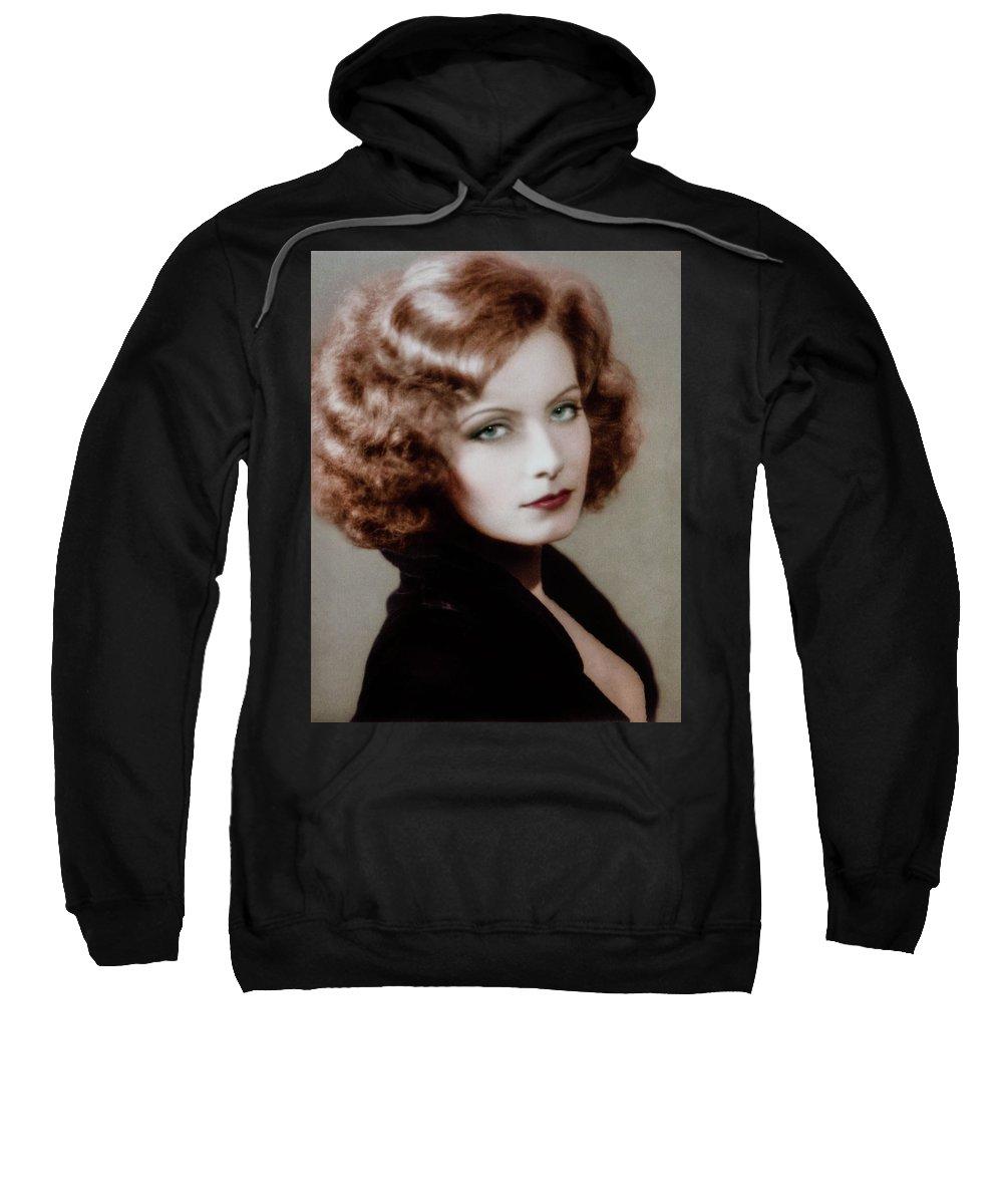 Media Room Sweatshirt featuring the photograph Gretta Garbo by Thomas Whitehurst