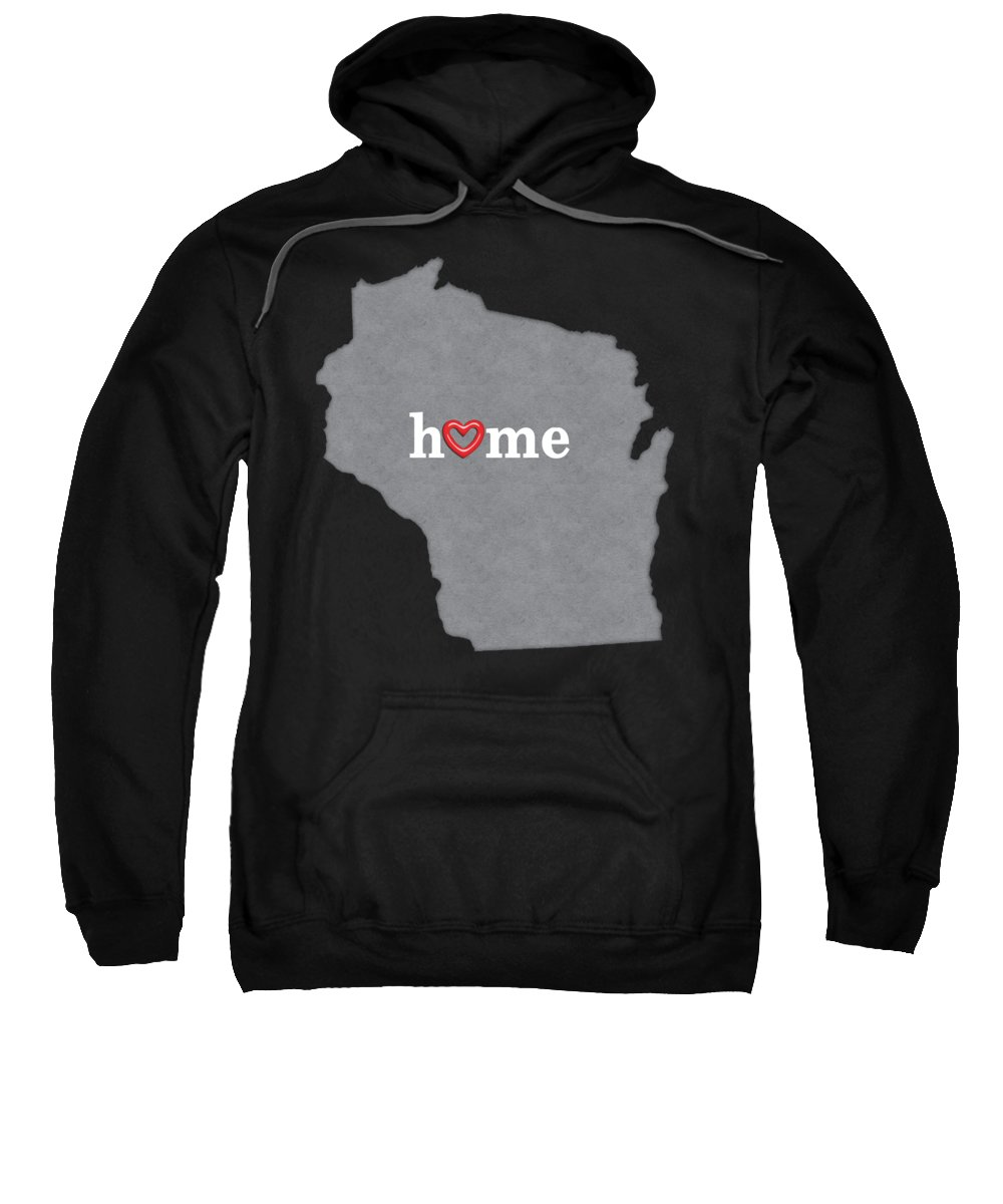 This Is A Series Of State Maps Of The United States Of America. Each Image Is A Silhouette Outline Of The State With A Heather Grey Fill And Dark Shading On The Edges For Dimension. The Word home Is Centered In The Map And Is Written In White Letters With An Open Shiny Red Heart Forming The Letter o Of Home. Sweatshirt featuring the painting State Map Outline Wisconsin With Heart In Home by Elaine Plesser