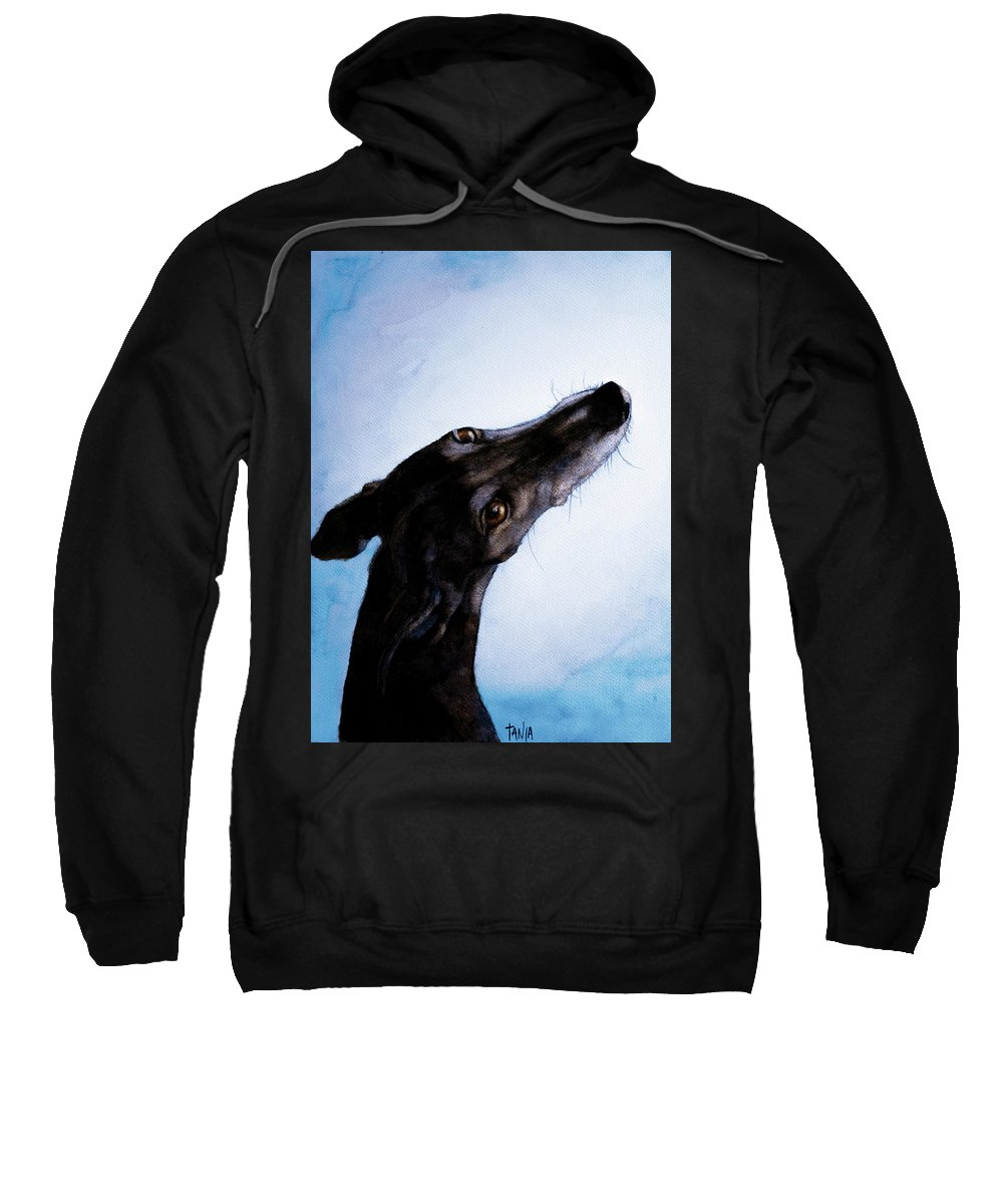 Greyhound Sweatshirt featuring the painting Greyhound - Always There by Tanja Kooymans