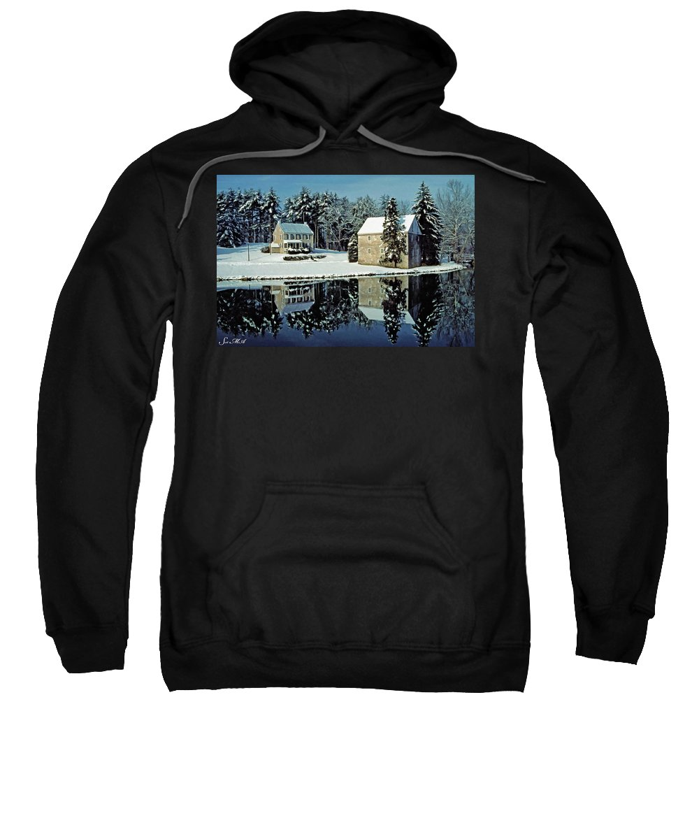 Grings Mill Recreation Area Sweatshirt featuring the photograph Grings Mill Snow 001 by Scott McAllister