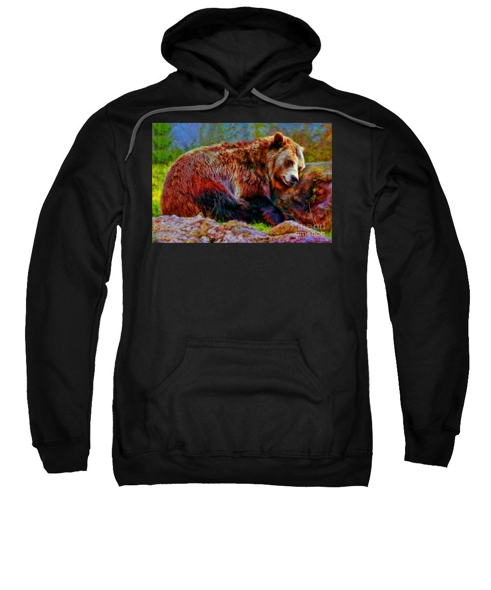 Grizzly Bear Sweatshirt featuring the photograph Grizzly Bear Hug by Blake Richards