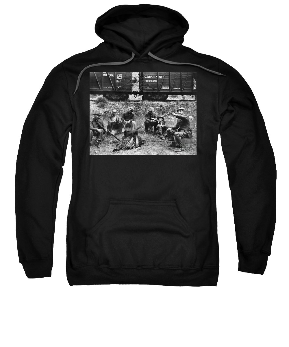 1920s Sweatshirt featuring the photograph Group Of Hoboes, 1920s by Granger