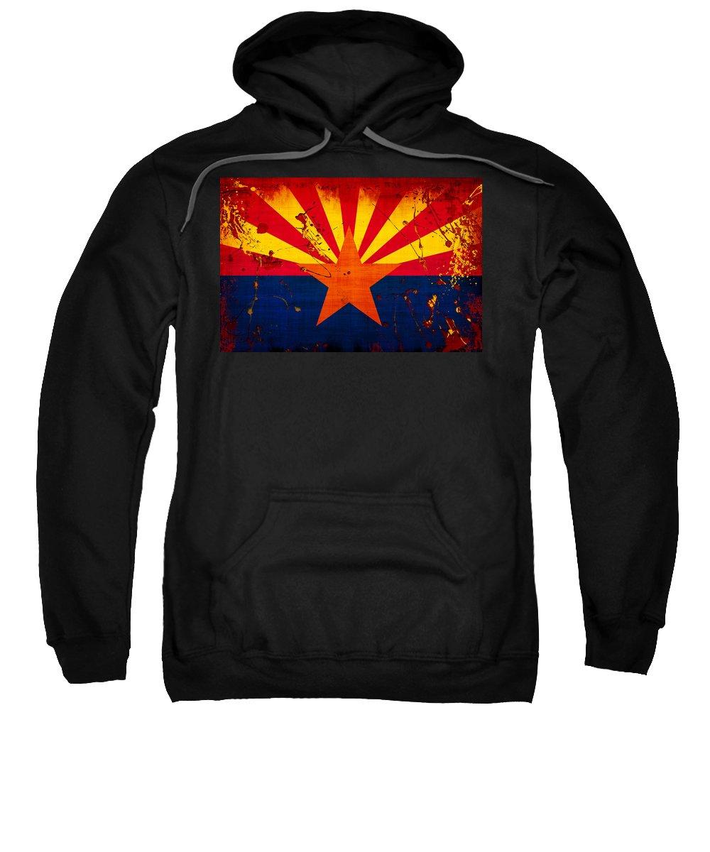 Arizona Sweatshirt featuring the photograph Grunge And Splatter Arizona Flag by David G Paul