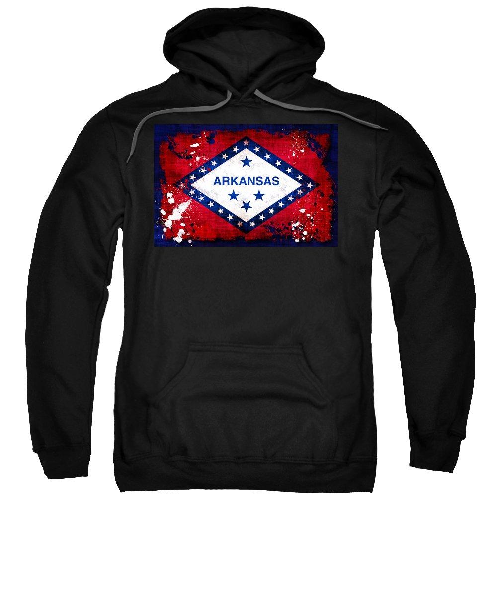 Arkansas Sweatshirt featuring the photograph Grunge Style Arkansas Flag by David G Paul
