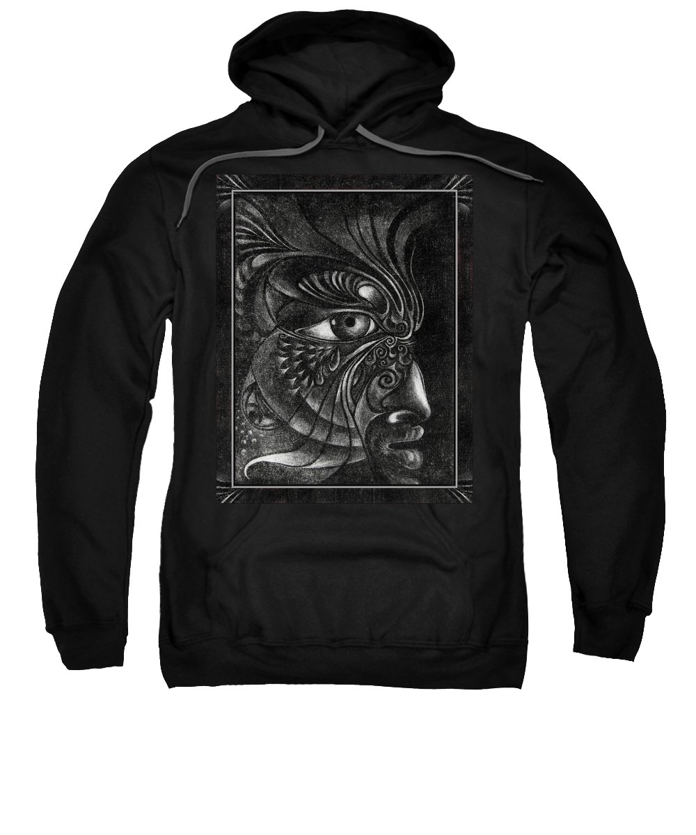 Mezzotint Sweatshirt featuring the drawing Guardian Cherub by Otto Rapp