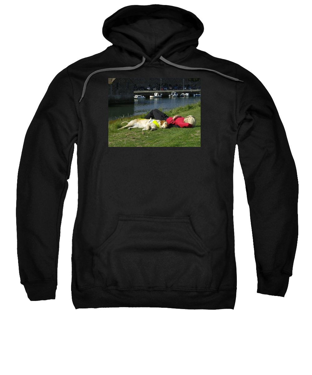 Guide Dog Sweatshirt featuring the photograph Guide Dog Relaxing by Adrian Wale
