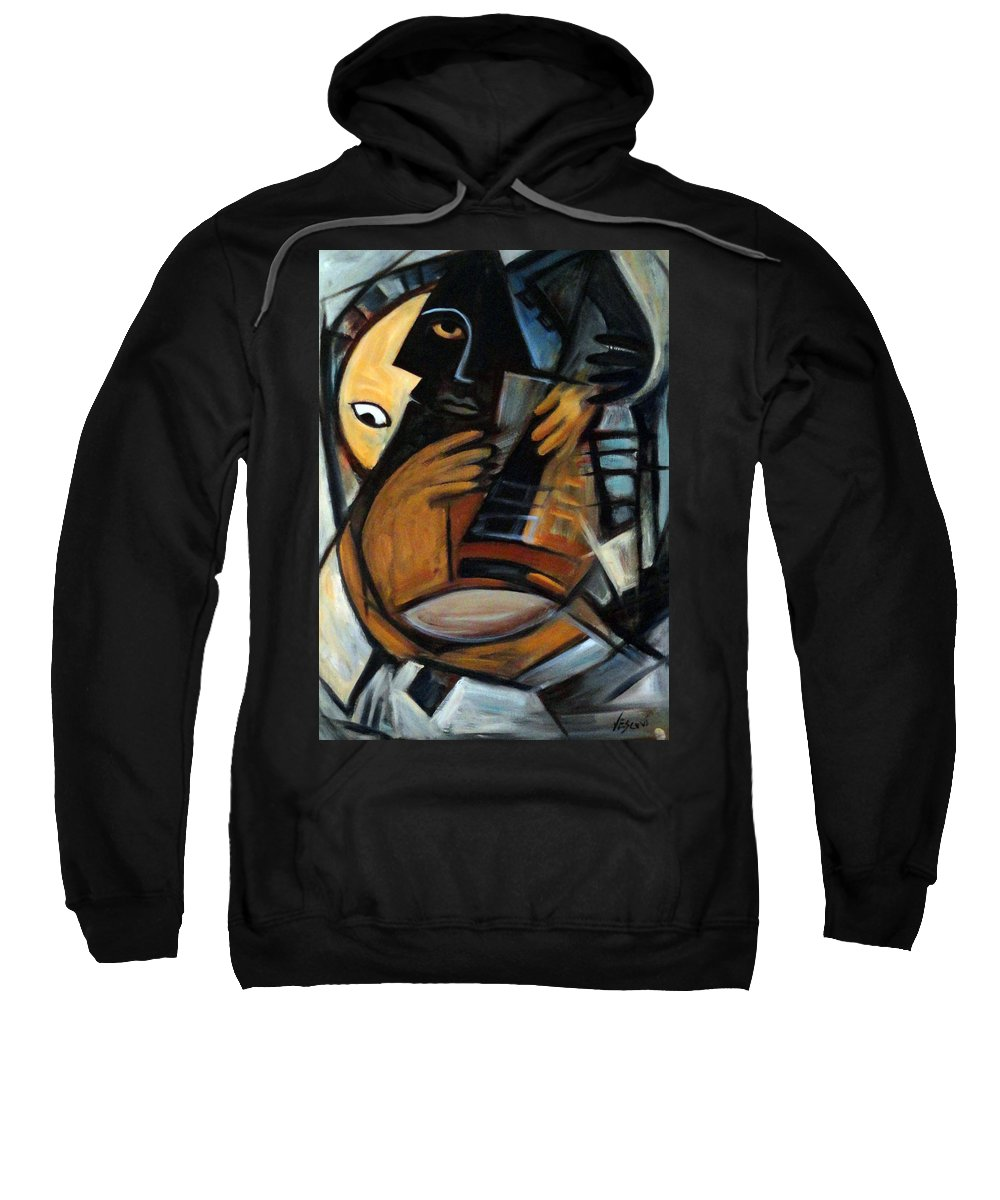 Cubism Sweatshirt featuring the painting Guitarist by Valerie Vescovi