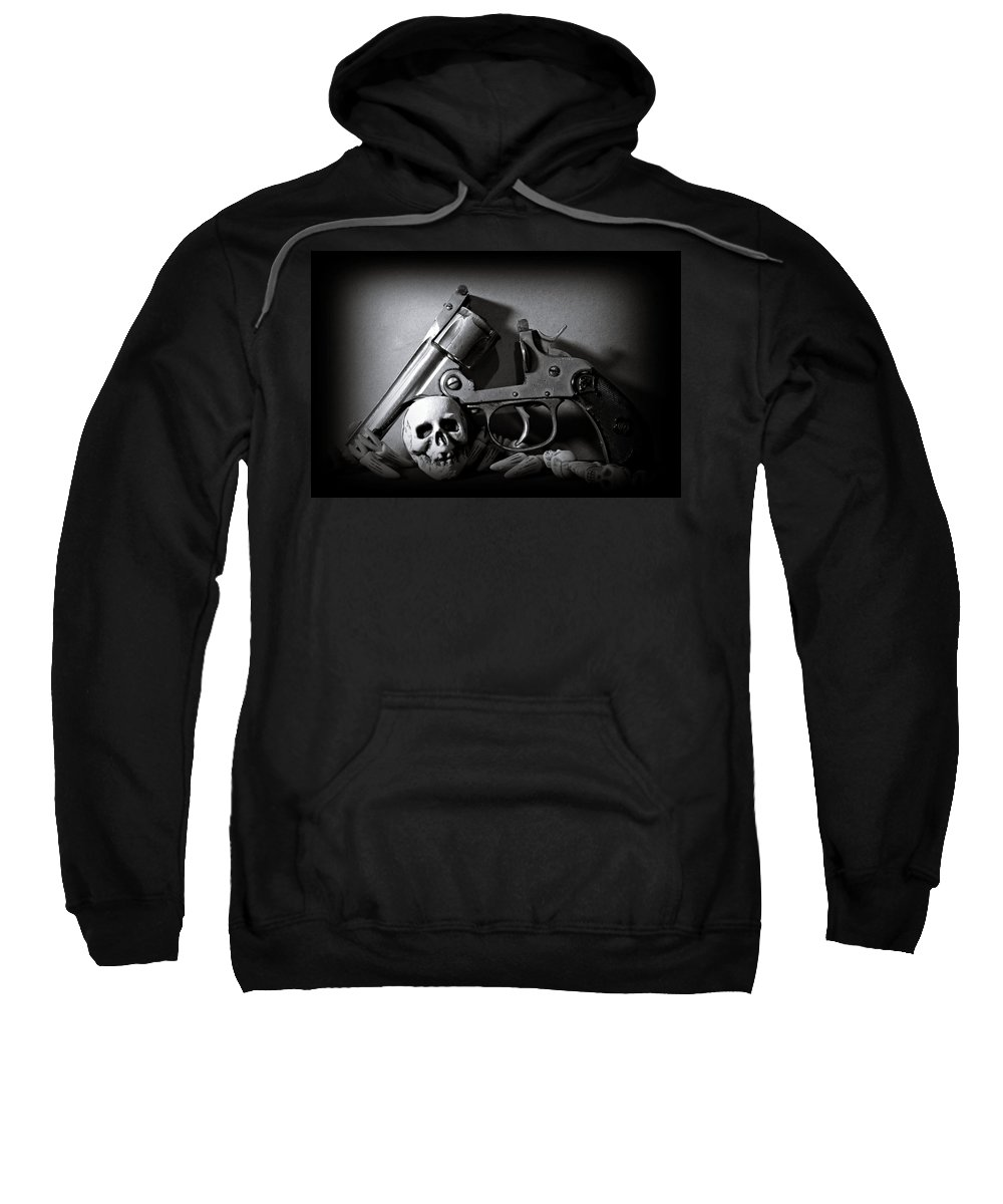 Black And White Sweatshirt featuring the photograph Gun And Skull by Scott Wyatt
