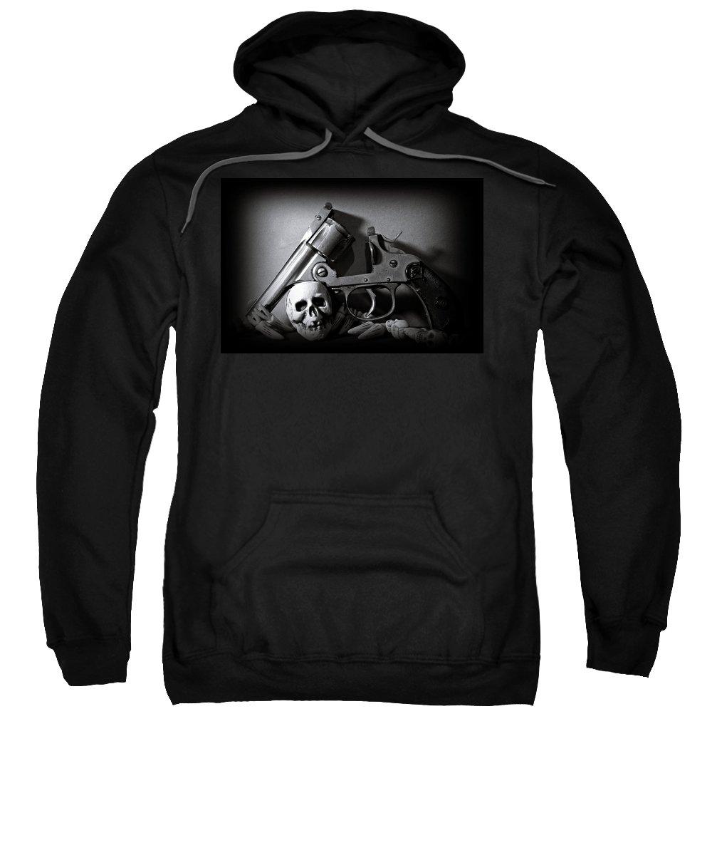 Black And White Sweatshirt featuring the photograph Gun And Skull by Scott Wyatt