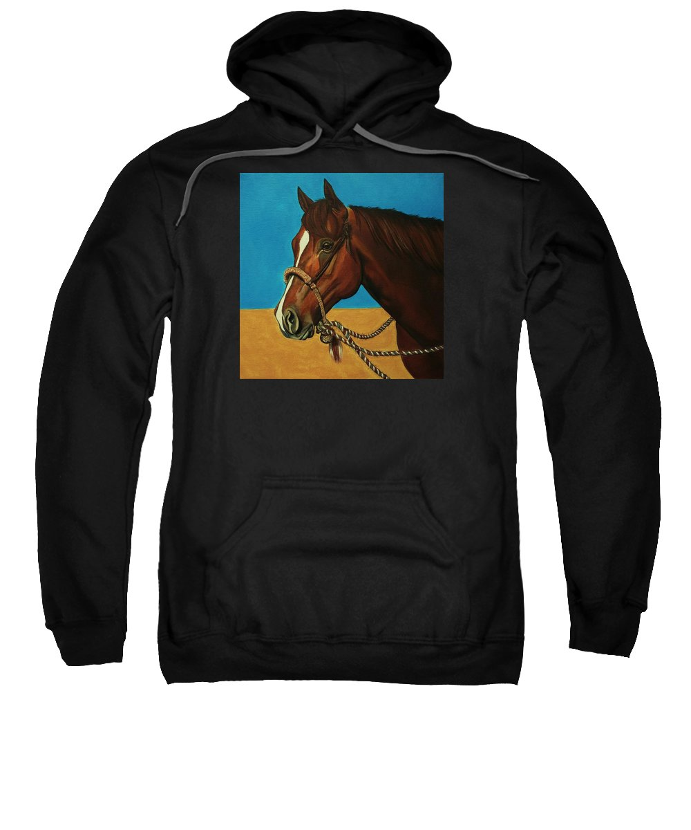 Horse Sweatshirt featuring the painting Hackamore Horse by Lucy Deane