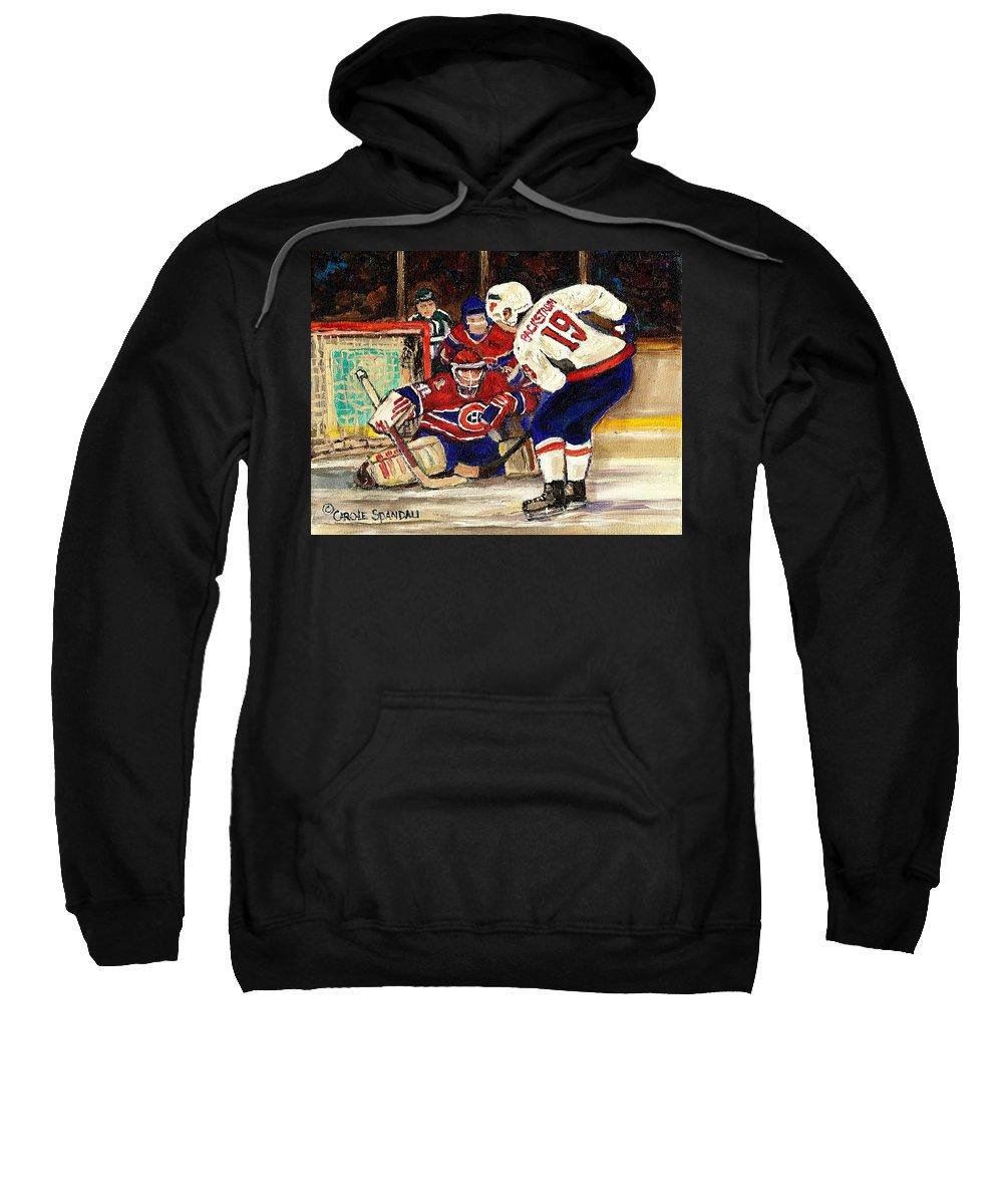 Halak Blocks Backstrom In Stanley Cup Playoffs 2010 Sweatshirt featuring the painting Halak Blocks Backstrom In Stanley Cup Playoffs 2010 by Carole Spandau