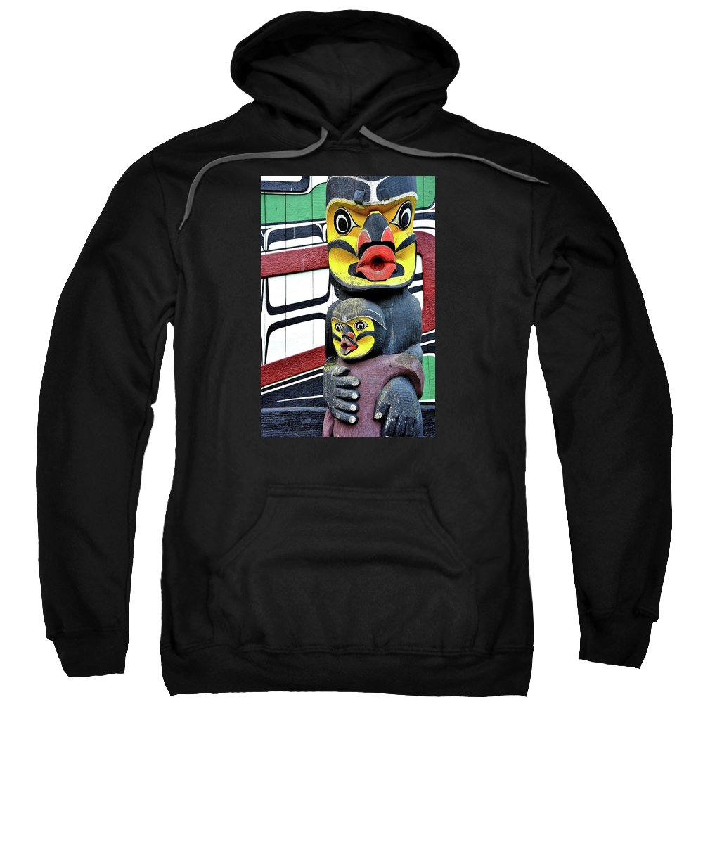 Totem Pole Native Clan Tribal Art Carving Crest Pacific Coast Northwest Indian Culture Fishing Whale Sweatshirt featuring the photograph Half Child by G A Fuller Photography