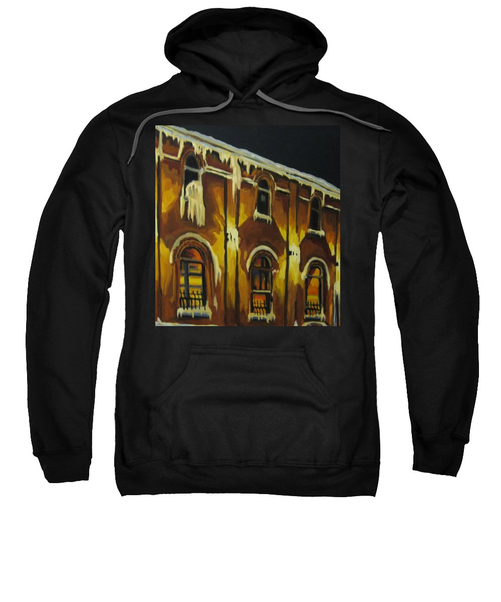 Urban Landscapes Sweatshirt featuring the painting Halifax Ale House In Ice by John Malone